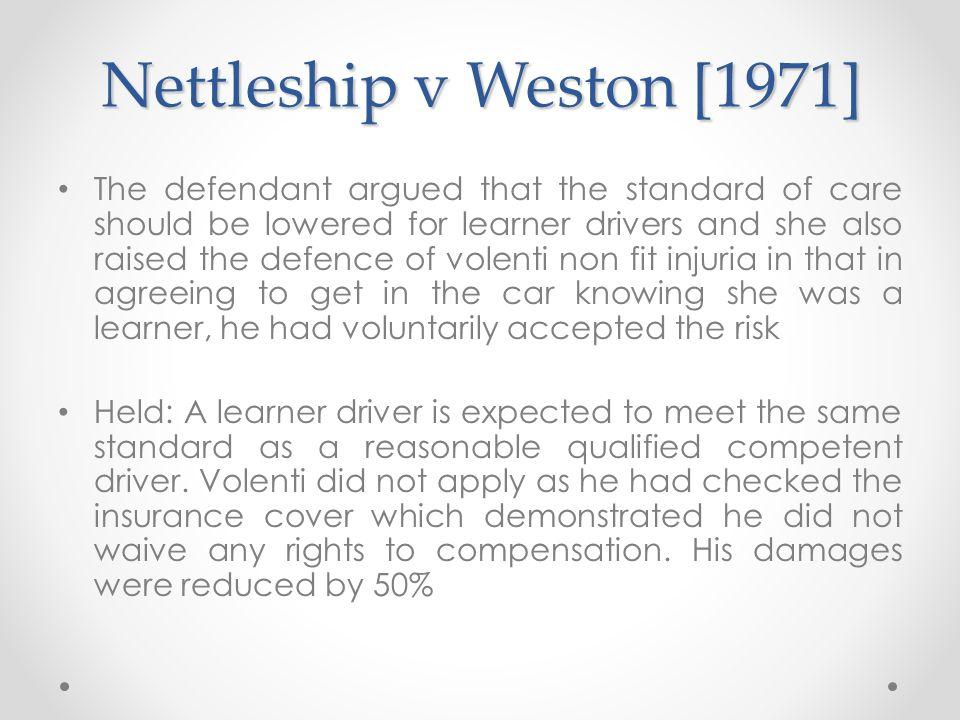 Nettleship v Weston [1971]
